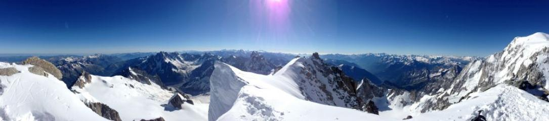 The view South East from Mont Blanc du Tacul summit at 9 in the morning.