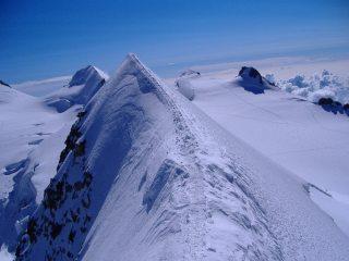 Liskamm East summit, looking towards corno nero, parrotspitze and balmenhorn.