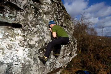 Self portrait bouldering at Buckland Hill, Bwlch