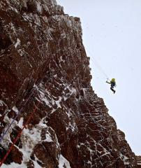 Fall during Greg Boswell's attempted first ascent of Banana Wall (XII, 12), Coire an Lochain. He sent it later on the day.