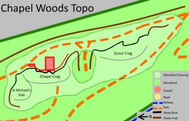 Map showing the different rock faces in Chapel Woods