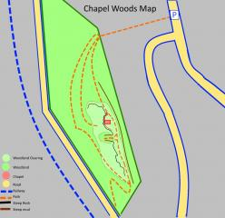 Map showing the paths around Chapel Woods to get to the crag