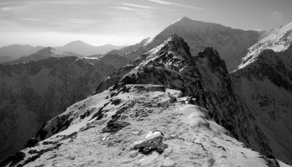 Late in the day,  Crib Goch and Snowdon