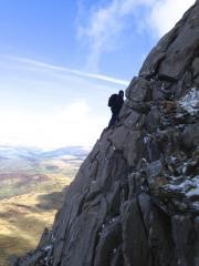 John enjoying the more exposed route on the North Ridge of Mynydd Moel