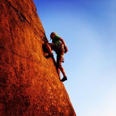 Saul's Arete - Let's hope the gear holds, or he's in for a big swing!