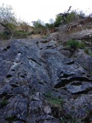 Muddy Waters, 6a. Start of climb - you can't see ledge or second half!