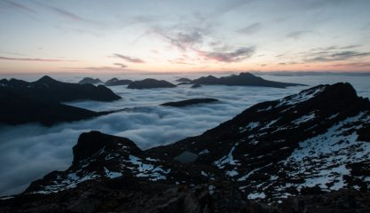 Nope. Not the Alps. It's the dawn view from the Cuillin Ridge nr the Sgurr Alasdair bivouac