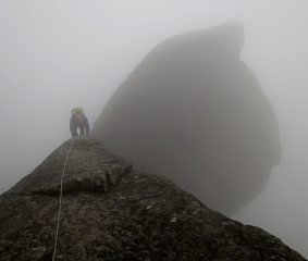 Getting back to the terrace from the Cioch on a misty day.