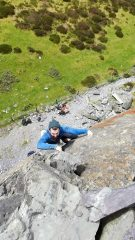 Barney pulling onto the good holds of fools gold - a solid first E1 lead!