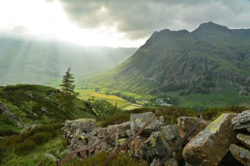 Crepuscular rays over Great Langdale