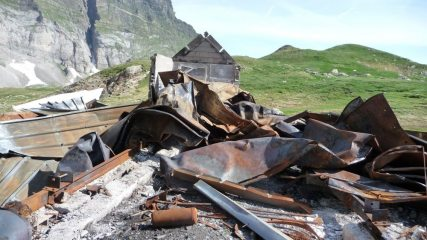 The Remains of the Baroude Hut After The Fire