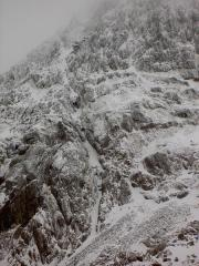 Climbers high on Great Gully, Clogwyn y Garnedd