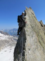 On one of the gendarmes on the classic East Ridge.