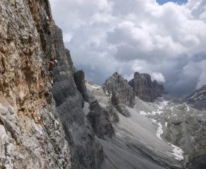 Rich racing the storm on the Lacedelli Route on Cima Scotoni