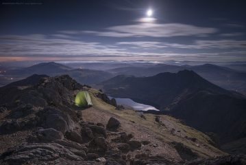 Moonlight wild camp on Garnedd Ugain, Snowdonia, Wales