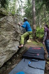 Paul_in_Sheffield finishing Red 7 f6b at Les Bossons boulders Chamonix