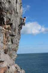 Eyeing up the crux or tho I found this the easer bit.... quality route.