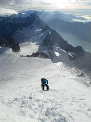Looking back as we approach the summit of Mont Blanc via the Trois Monts route
