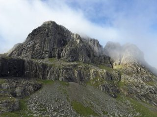 Carn Dearg Buttress waking up in the morning mist