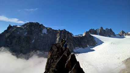 Guy Burton and Nick Buckman on a beautiful clear day above the Orny hut on Aguille d'Orny.