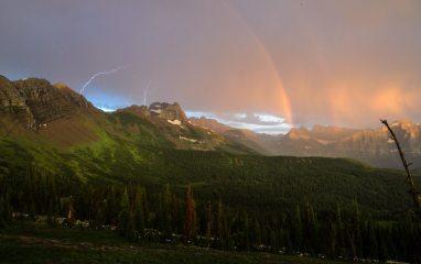 Lightning, Rainbows, Sunset, Mountains