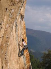 Me on a 7a+ in the Ferentillo area