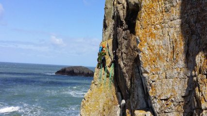Climbers on Gogarth Main Cliff