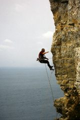 Falling on the unsuccessful attempt at the FA of Yellow Edge E4 5c, St Aldhelm's Head, Swanage