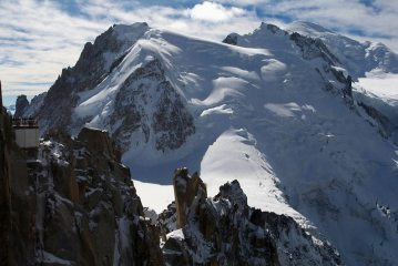 Massif of Mont Blanc from Aiguille du Midi.