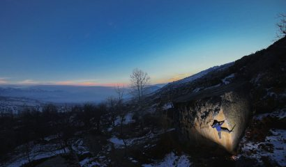 The semi-unknown gems of Prilep, Macedonia showing off. Tom Newberry on a 7A+ arete at Dusk. InstaFollow @el3ctrofuzz.