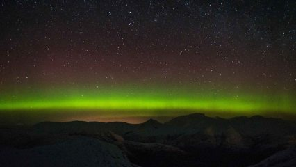 Ben Nevis from the Aonach Eagach during a night traverse.
