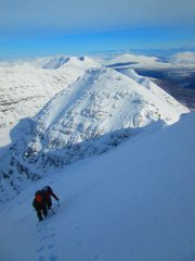 Walking to the summit of liathach having just done Poachers in primo conditions