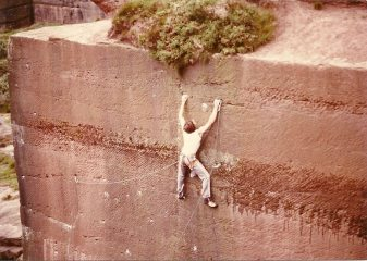 Phil Davidson on first ascent of Main Wall Pex Hill E5 6b 1981