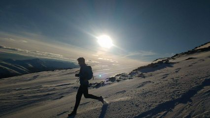 Running down Stob Ghabhar at the end of the day