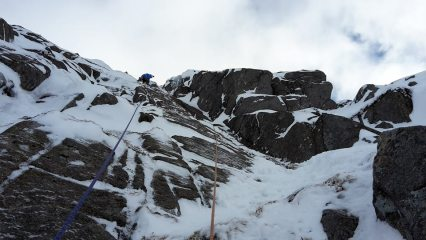 The crux pitch of Shadow Buttress A, Lochnagar
