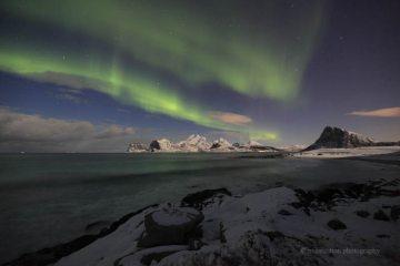 Aurora over Myrland Beach, Lofoten Isles, Arctic Norway this week