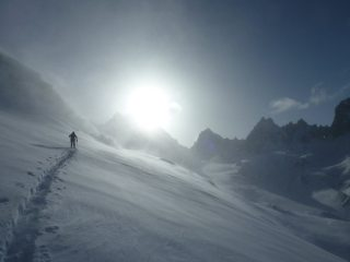 Skit Touring after a Storm above the Saleina Hut (Chardonnet in the background)