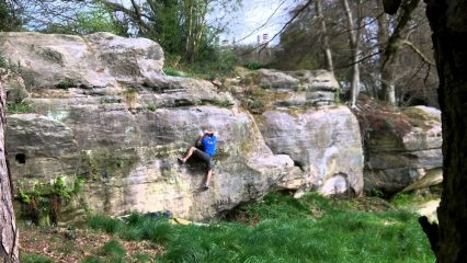 Climbing New Jerusalem - right hand exit at Mount Edgcumbe Rocks on the Southern Sandstone.