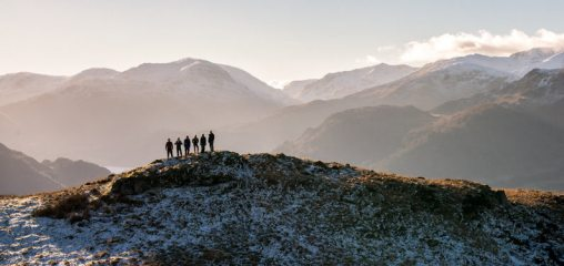 Family walk over Gowbarrow Fell, Lake District. , 93 kb