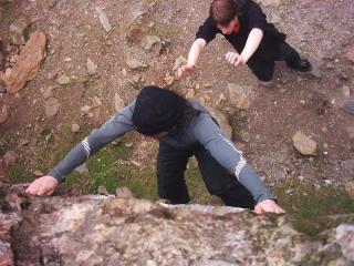 Me roaring up a problem on the Cromlech boulders