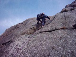 Me on my first E2 at the Cromlech slabs