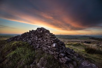 Looking west over the Peak District towards Windgather Rocks just after sunset., 240 kb