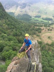 Sam belaying on top of the pinnacle.