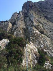 Martin (Boulder H. Zehenhaken) climbing the 1st pitch of Burn Up E1 5a, Grey Man's Path West,  Fairhead.