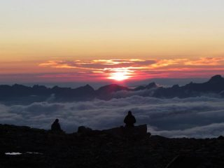 Nightfall before heading up the Gouter Route, Mont Blanc, 34 kb