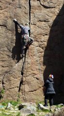 Martin Bagshaw leading Dexterity E1 5b - Millstone Edge - Eastern Peaks