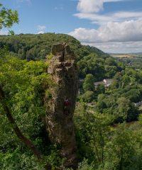 Climber on the longstone pinnacle