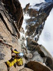 Climbing towards the top of the Flèche Rousse on Aiguille d'Argentiere, 163 kb