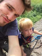 Rowan doing his first Trad route.