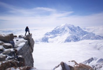 Enjoying the view of Mt Foraker at high camp on Denali